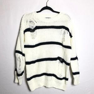 Forever 21 open knit distressed sweater